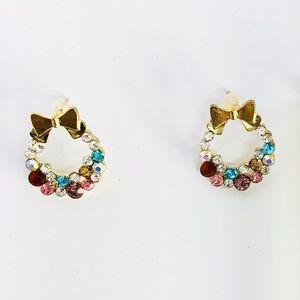 New! Multicolored Rhinestones Hoop Bow Earrings